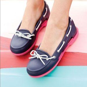 Crocs Beach Line Slip on Boat Shoe Navy & Hot Pink